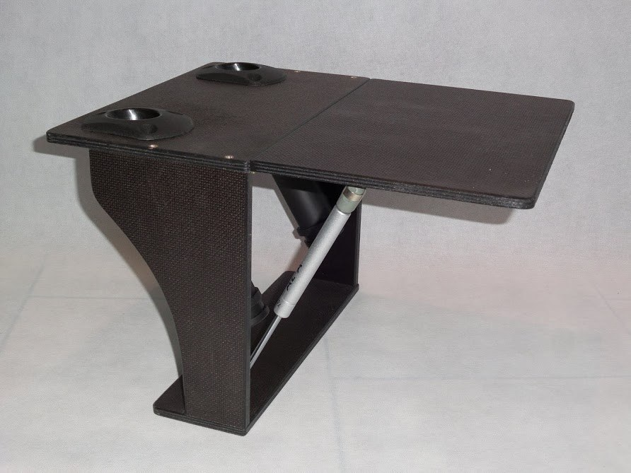 Folding table for a dinghy with a 2-rod holder