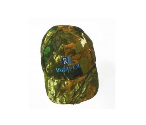 Cap with LED flashlight camouflage forest adjustable velcro